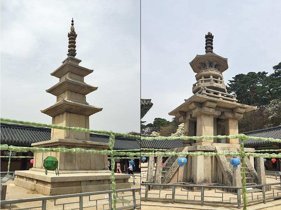 韓国の世界遺産 仏国寺(불국사)釈迦塔と多宝塔