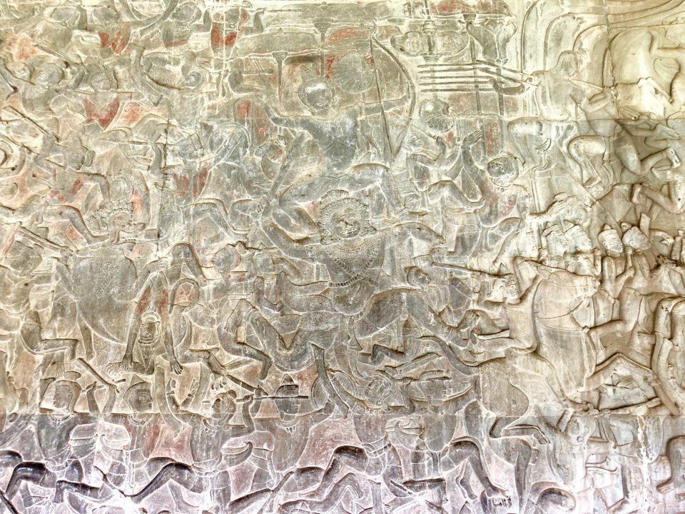 アンコールワット レリーフ 富の神クーベラ