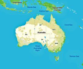 オーストラリア大陸の地図